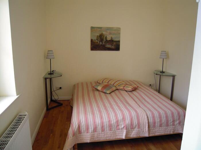 Schlafzimmer zu Terrasse des Ferienappartments 4